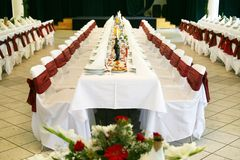 Table set for an event party or wedding. Reception Stock Image