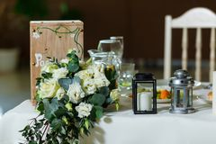 Table set for an event party or wedding reception.  Stock Image