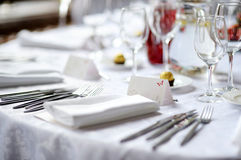 Table set for an event party. Or wedding reception Royalty Free Stock Photo