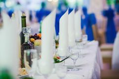 Table set for an event party. Or wedding reception Stock Photos