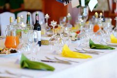 Table set for an event party. Or wedding reception Stock Photo