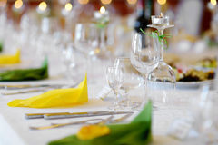 Table set for an event party. Or wedding reception Stock Photography