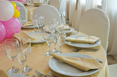 Table set for an event party. Royalty Free Stock Photo