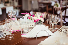 Table set for an event party. Or wedding reception Stock Image