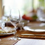 Table set for an event Stock Photo