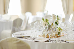 Table set for an event party or wedding reception Royalty Free Stock Images