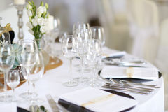 Table set for an event party or wedding reception Stock Photography