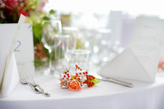 Table set for an event party or wedding reception Stock Image