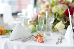Table set for an event party or wedding reception Royalty Free Stock Photography