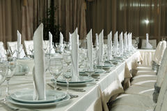 Table set for event party or wedding reception celebration. Table setting with food for reception, weddings, celebration Stock Image