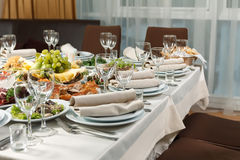 Table set for event party or wedding reception celebration Stock Photos