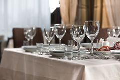 Table set for event party or wedding reception. Elaborate table setting at a reception Royalty Free Stock Images
