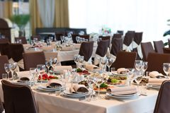 Table set for event party or wedding reception Royalty Free Stock Photos