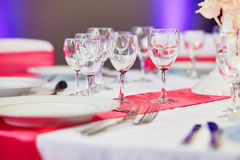 Table set for an event party or wedding reception Stock Photos