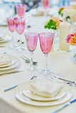 Table set for an event party or wedding reception Royalty Free Stock Image
