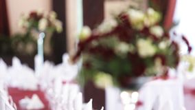 Table set for event party or wedding reception stock video footage