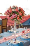 Table set for an event party or wedding reception. Flowers on table Royalty Free Stock Image