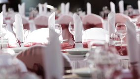 Table set for event party or wedding reception with follow focus shot stock video