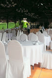 Table set for party at outdoors Stock Image