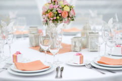 Table set for an event party or wedding reception Stock Images