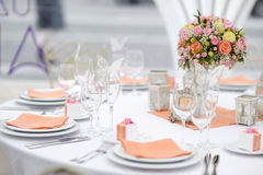 Table set for an event party or wedding reception. Spring theme Royalty Free Stock Photography