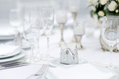 Table set for an event party or wedding reception Stock Photo