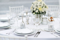 Table set for an event party or wedding reception Royalty Free Stock Photos