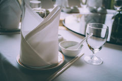 Table set of festive event restaurant or luxury ballroom Royalty Free Stock Photo