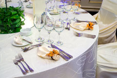 Table set for a festive party Royalty Free Stock Photography