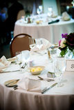Table set for fine dining stock image