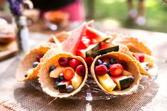Table set for a garden party or celebration outside. Fruit snacks on the decorated table in the garden. Close up Royalty Free Stock Image