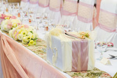 Table set with gift box Stock Photo