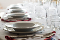 Table set. With glassware and cutlery stock photo