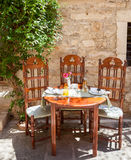 Table set at greek cafe Royalty Free Stock Photography