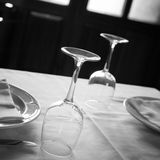 Table set for lunch in a bistro Royalty Free Stock Photos