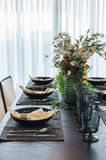 Table set in luxury dinning room Royalty Free Stock Images