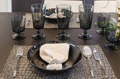 Table set on luxury dinning table Royalty Free Stock Images