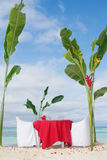 Table set for meal on beach Stock Images