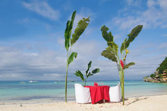 Table set for meal on beach Royalty Free Stock Photography