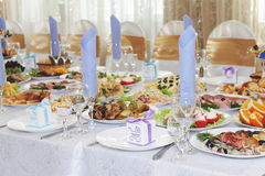 Table set with meal for event dinner Royalty Free Stock Image