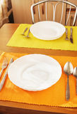 Table set for meal for two persons Royalty Free Stock Photos
