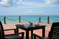 Table set with ocean views Stock Image