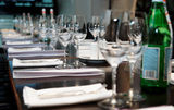 Table set for official dinner. And presentation Stock Photography