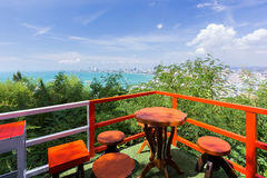 Table set with panorama sea view Royalty Free Stock Photo