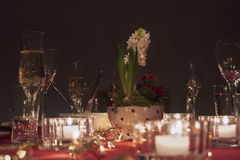 Table set for party with champagne Royalty Free Stock Photo