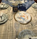 Traditional Jewish Passover dinner table setting. Table set for Passover dinner Jewish celebration traditional Stock Image