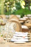 Table set for a reception, party event or wedding celebration Stock Photo