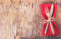 Table set with red napkin. Stock Images