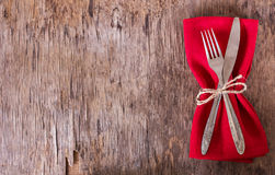 Table set with red napkin. Royalty Free Stock Images