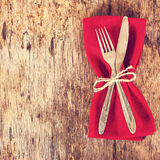 Table set with red napkin. Stock Photo